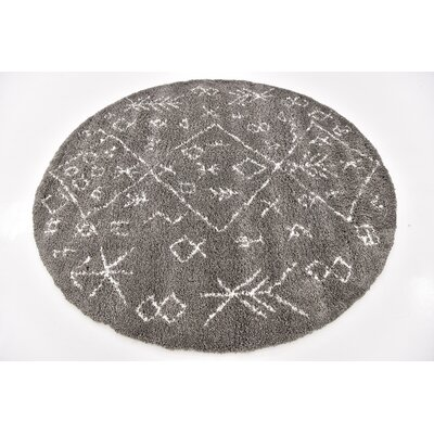 France Machine woven Gray Area Rug Rug Size: Round 8