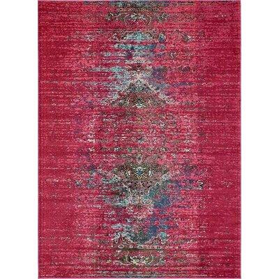 Boston Machine woven Pink Area Rug Rug Size: 9 x 12