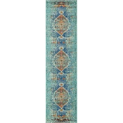 Boston Machine woven Turquoise Area Rug Rug Size: Runner 27 x 10