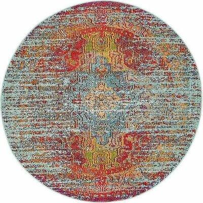 Newton Tibetan Blue Area Rug Rug Size: Round 4