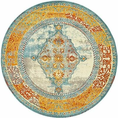 Boston Blue/Yellow Area Rug Rug Size: Round 8