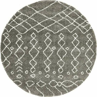 Bourne Machine woven  Gray Area Rug Rug Size: Round 8