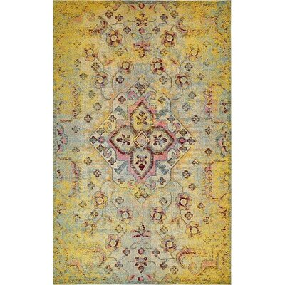 Boston Machine woven  Yellow Area Rug Rug Size: 106 x 165
