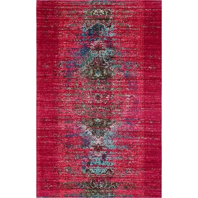 Glenn Machine woven Pink Area Rug Rug Size: Rectangle 106 x 165