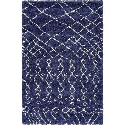 Bourne Machine woven Navy Blue Area Rug Rug Size: 5 x 8