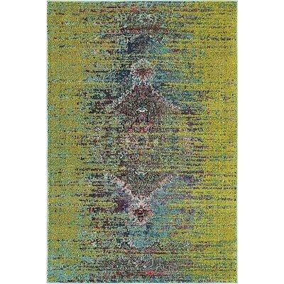 Glenn Machine woven Green Area Rug Rug Size: 4 x 6