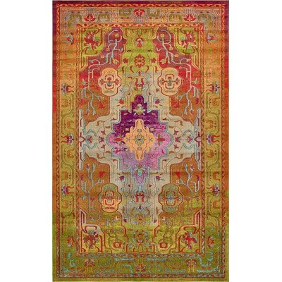 Newton Orange/Green Area Rug Rug Size: 10 6 x 16 5