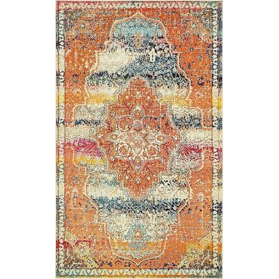 Boston  Orange Area Rug Rug Size: 5 x 8