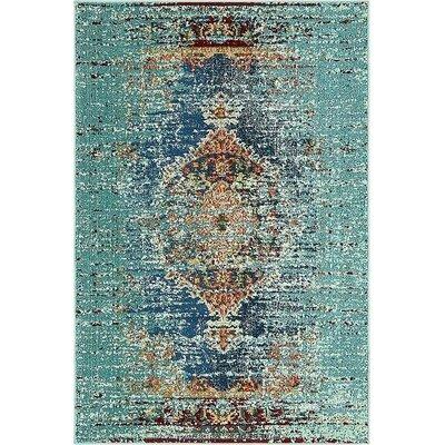 Glenn Blue Area Rug Rug Size: 4 x 6