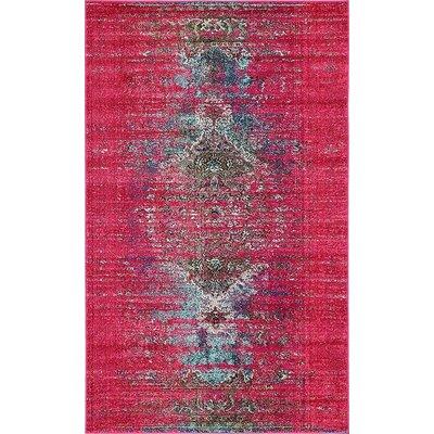 Glenn Machine woven Pink Area Rug Rug Size: 5 x 8