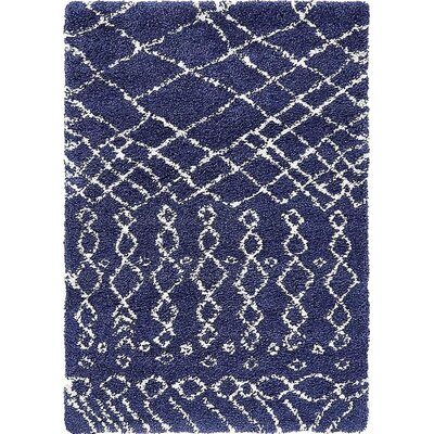 Bourne Machine woven Navy Blue Area Rug Rug Size: 4 x 6