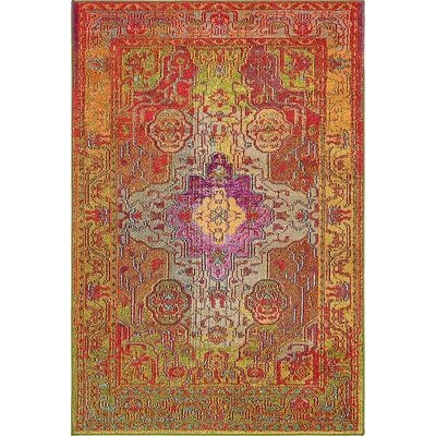 Newton Orange/Green Area Rug Rug Size: 4 x 6