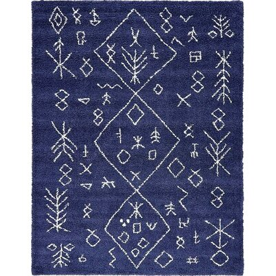 France Navy Blue Area Rug Rug Size: Rectangle 9 x 12