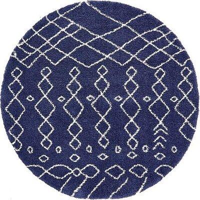 Bourne Machine woven Navy Blue Area Rug Rug Size: Round 8