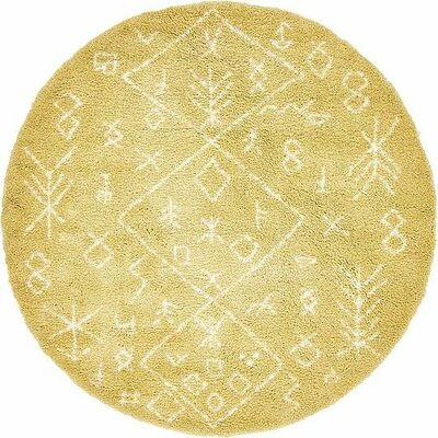 France Machine woven Yellow Area Rug Rug Size: Round 8