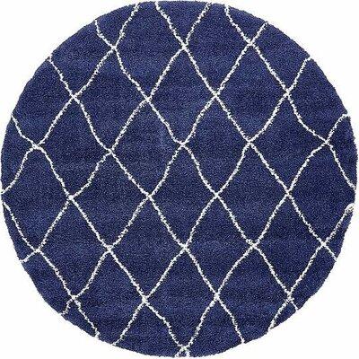 Cynthiana  Navy Blue Area Rug Rug Size: Round 8