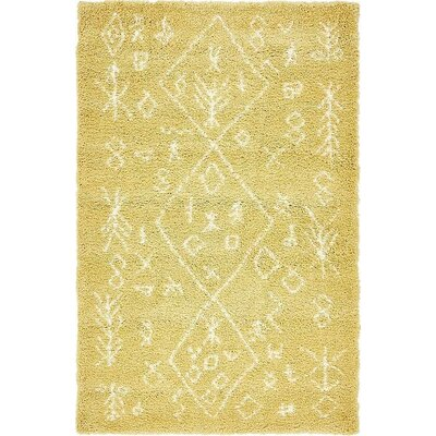 France Machine woven Yellow Area Rug Rug Size: Rectangle 5 x 8