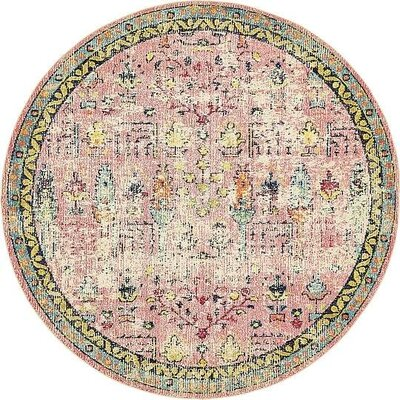 Gloucester Pink Area Rug Rug Size: Round 8