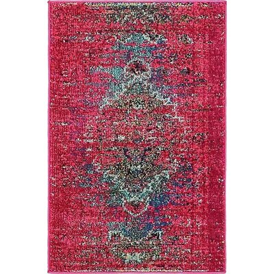 Glenn Machine woven Pink Area Rug Rug Size: Rectangle 22 x 3