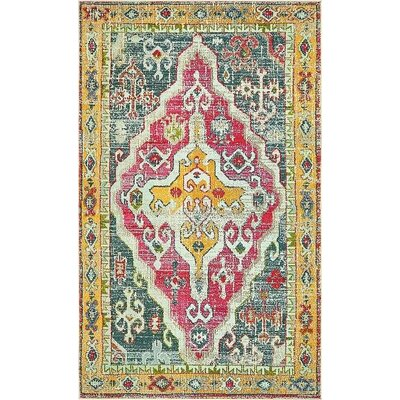 Glenn Yellow/Red Area Rug Rug Size: 5 x 8