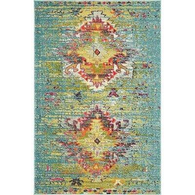 Glenn Turquoise Area Rug Rug Size: 4 x 6