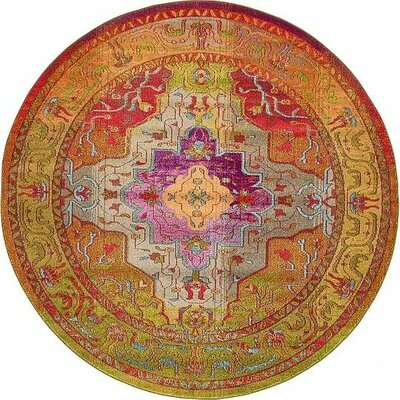 Newton Orange/Green Area Rug Rug Size: Round 8