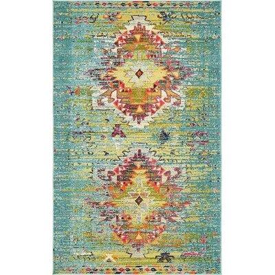 Glenn Turquoise Area Rug Rug Size: 5 x 8