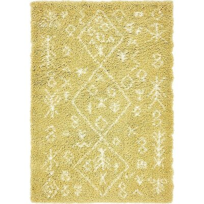 France Machine woven Yellow Area Rug Rug Size: Rectangle 9 x 12