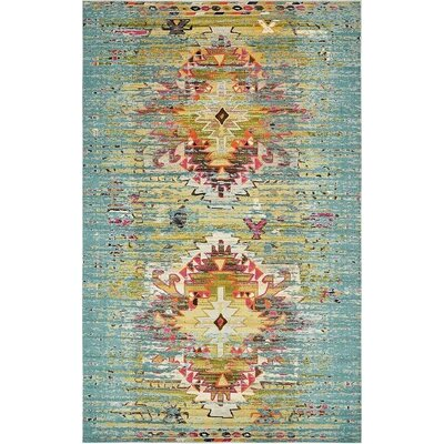 Glenn Turquoise Area Rug Rug Size: 106 x 165