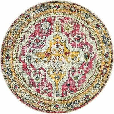 Glenn Yellow/Red Area Rug Rug Size: Round 4