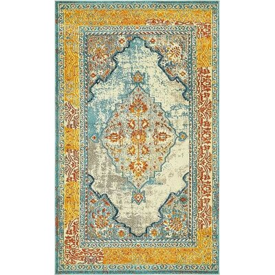 Boston Blue/Yellow Area Rug Rug Size: 5 x 8