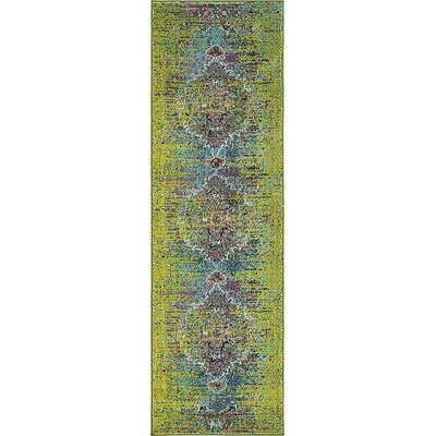 Boston Machine woven Green Area Rug Rug Size: Runner 2 x 67