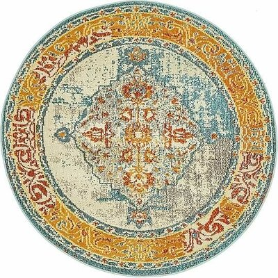 Boston Blue/Yellow Area Rug Rug Size: Round 4
