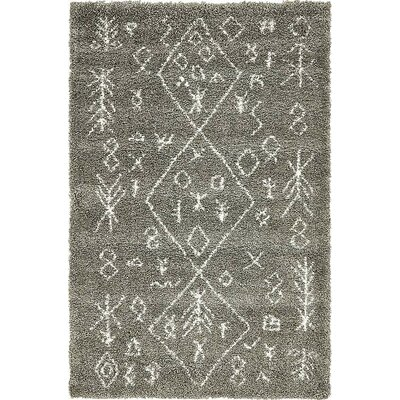 France Machine woven Gray Area Rug Rug Size: Rectangle 5 x 8