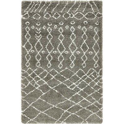 Bourne Machine woven  Gray Area Rug Rug Size: 5 x 8