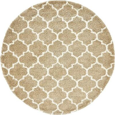 Cynthiana Taupe Area Rug Rug Size: Round 8