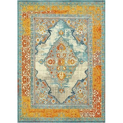 Boston Blue/Yellow Area Rug Rug Size: 9 x 12