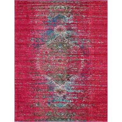 Glenn Machine woven Pink Area Rug Rug Size: 8 x 10