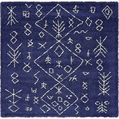 France Navy Blue Area Rug Rug Size: Square 8