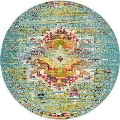 Glenn Turquoise Area Rug Rug Size: Round 8