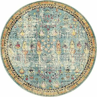 Gloucester Blue Area Rug Rug Size: Round 8