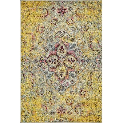 Boston Machine woven  Yellow Area Rug Rug Size: 4 x 6