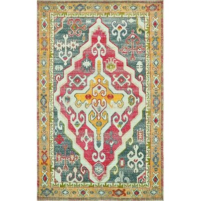 Glenn Yellow/Red Area Rug Rug Size: 106 x 165