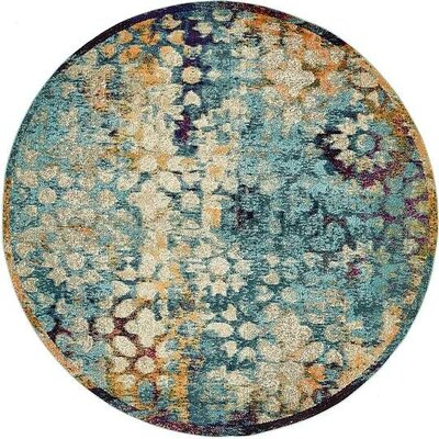 Boston  Blue Area Rug Rug Size: Round 8'