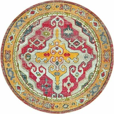 Glenn Yellow/Red Area Rug Rug Size: Round 8