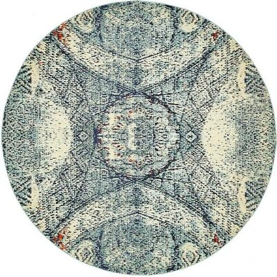 Newton Stain Resistant Blue Area Rug Rug Size: Round 8