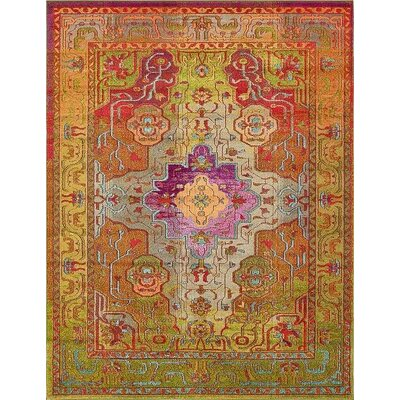 Newton Orange/Green Area Rug Rug Size: Rectangle 8 x 10