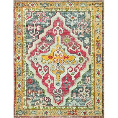 Boston Yellow/Red Area Rug Rug Size: 8 x 10