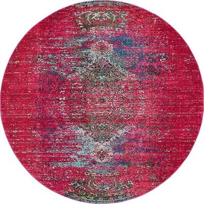 Boston Machine woven Pink Area Rug Rug Size: Round 8