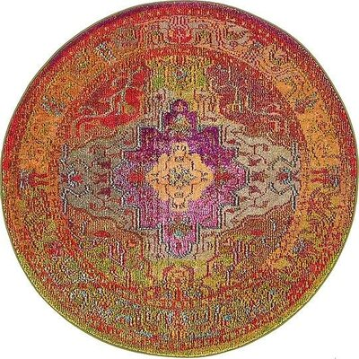 Newton Orange/Green Area Rug Rug Size: Round 4